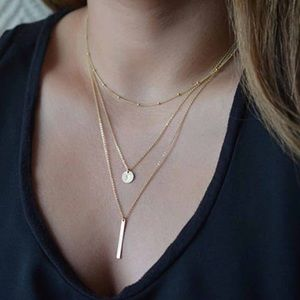 Jewelry - 4 for $25 multilayer coin bar necklace